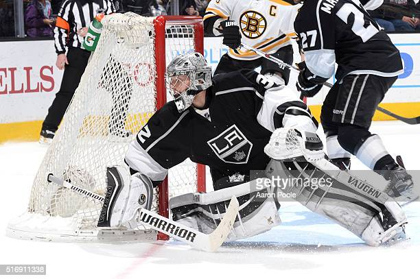 Jonathan Quick of the Los Angeles Kings defends the goal during a game against the Boston Bruins at STAPLES Center on March 19 2016 in Los Angeles...