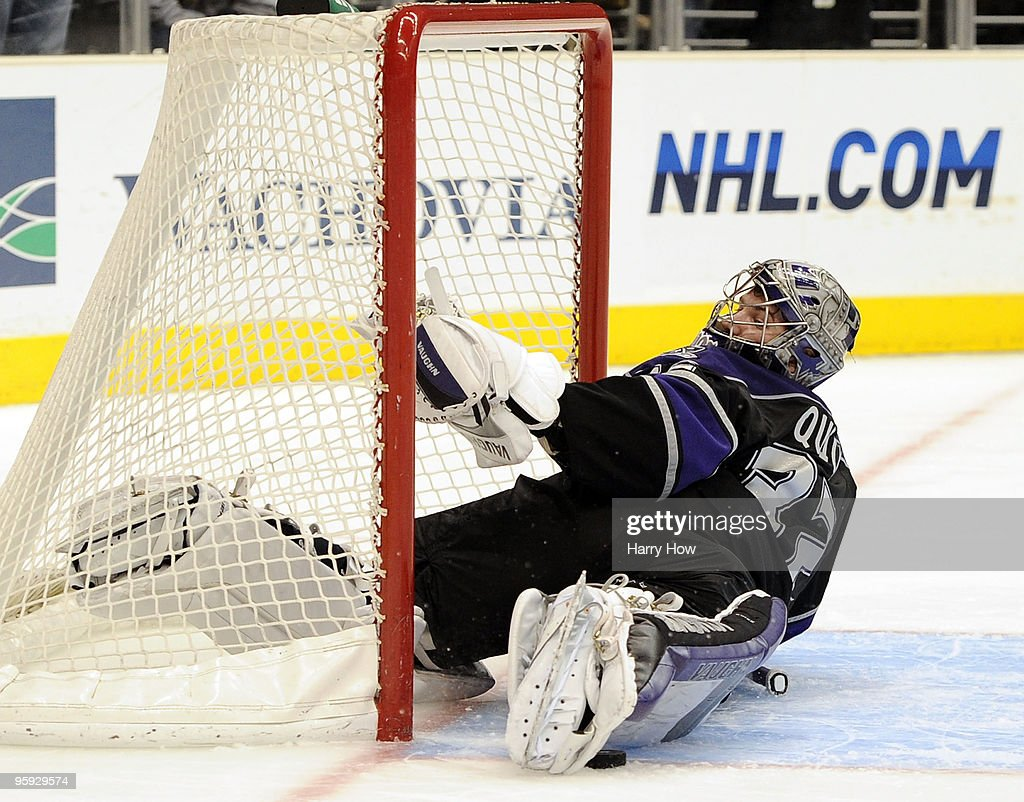 <a gi-track='captionPersonalityLinkClicked' href=/galleries/search?phrase=Jonathan+Quick&family=editorial&specificpeople=2271852 ng-click='$event.stopPropagation()'>Jonathan Quick</a> #32 of the Los Angeles Kings makes a game winning save on Tim Connolly #19 of the Buffalo Sabres to preserve a 4-3 in during the overtime shootout period at the Staples Center on January 21, 2010 in Los Angeles, California.