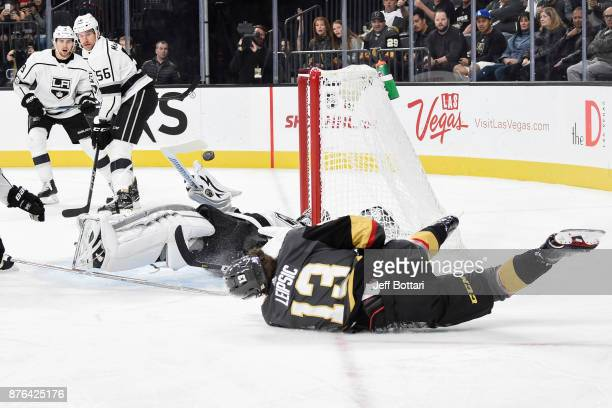 Jonathan Quick of the Los Angeles Kings makes a save against Brendan Leipsic of the Vegas Golden Knights during the game at TMobile Arena on November...