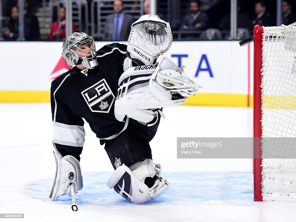 Jonathan Quick of the Los Angeles Kings makes a save during the first period against the Columbus Blue Jackets at Staples Center on November 5 2015...