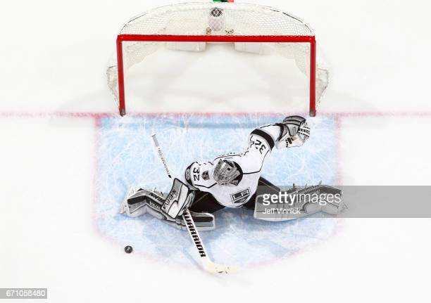 Jonathan Quick of the Los Angeles Kings makes a save during their NHL game against the Vancouver Canucks at Rogers Arena March 31 2017 in Vancouver...