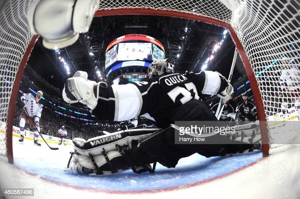 Jonathan Quick of the Los Angeles Kings makes a save in double overtime against the New York Rangers during Game Five of the 2014 Stanley Cup Final...