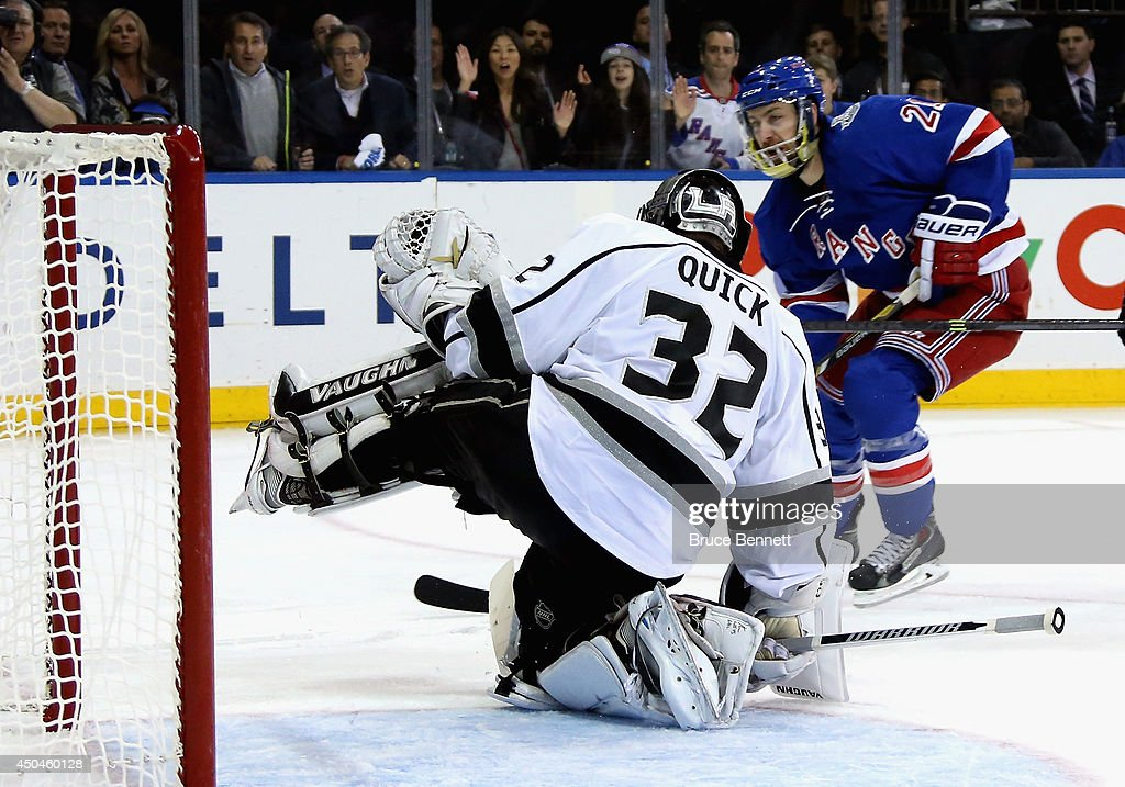 Jonathan Quick #32 of the Los Angeles Kings makes a save on Derek Stepan #21 of the New York Rangers during the second period of Game Four of the 2014 NHL Stanley Cup Final at Madison Square Garden on June 11, 2014 in New York, New York.