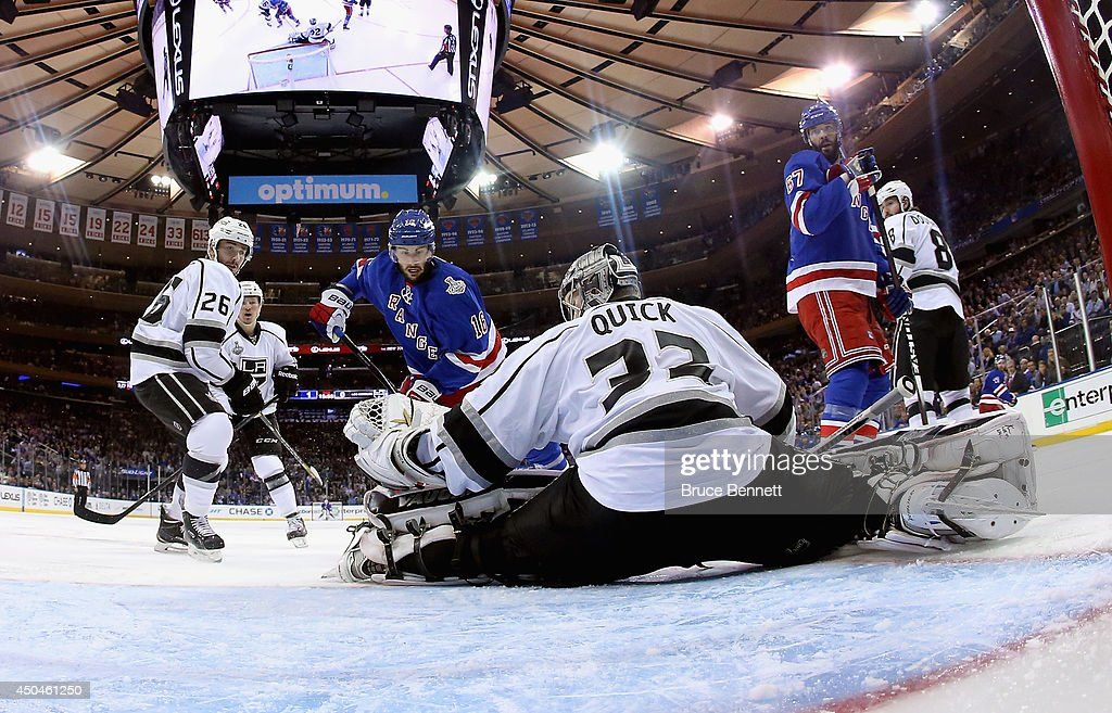 Jonathan Quick #32 of the Los Angeles Kings makes a save on Derick Brassard #16 of the New York Rangers during the second period of Game Four of the 2014 NHL Stanley Cup Final at Madison Square Garden on June 11, 2014 in New York, New York.