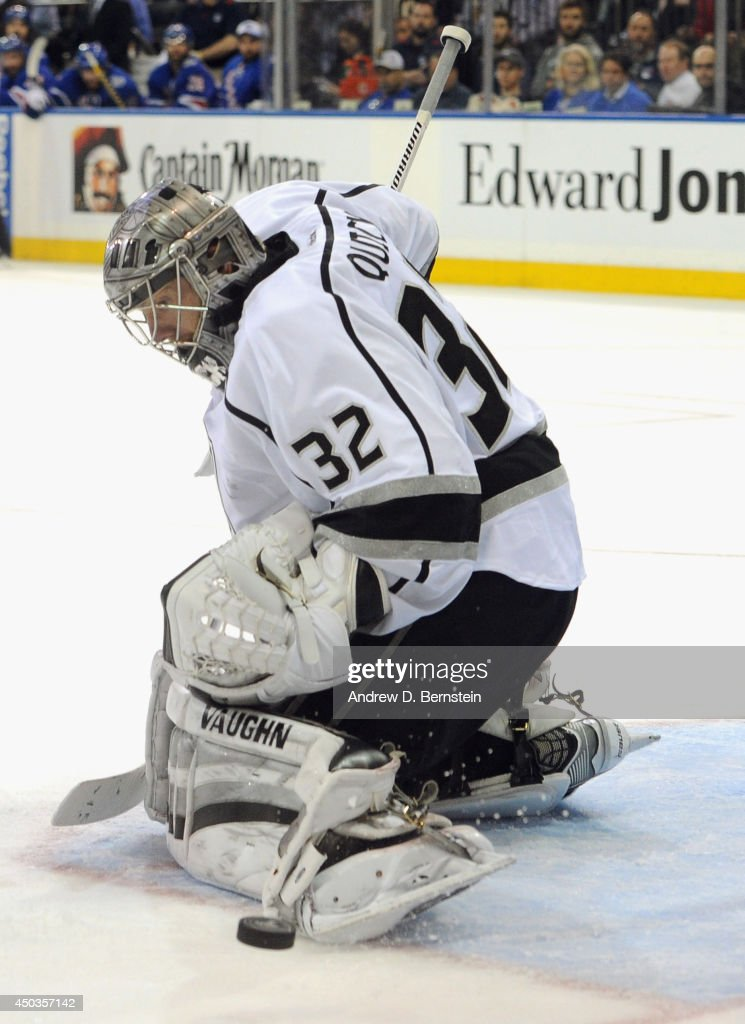 Jonathan Quick of the Los Angeles Kings makes a tor save against the New York Rangers during the second period of Game Three of the 2014 Stanley Cup...