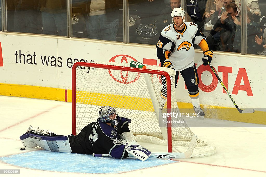 Jonathan Quick #32 of the Los Angeles Kings makes the game winning save during the shootout against Tim Connolly #19 of the Buffalo Sabres on January 21, 2010 at Staples Center in Los Angeles, California.