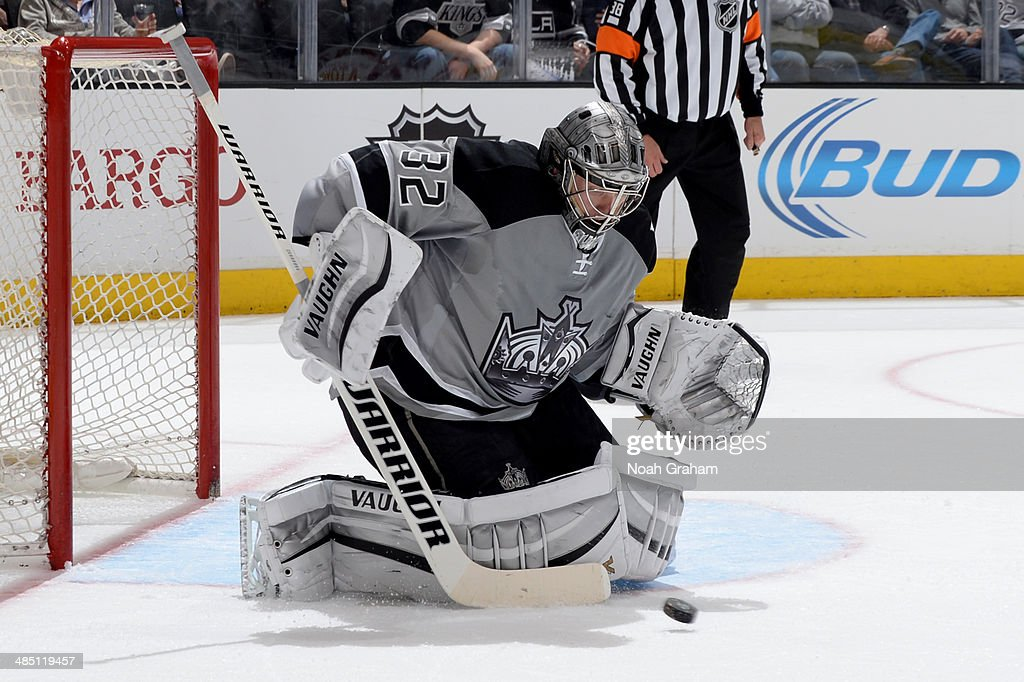 Jonathan Quick #32 of the Los Angeles Kings makes the save against the Anaheim Ducks at Staples Center on April 12, 2014 in Los Angeles, California.