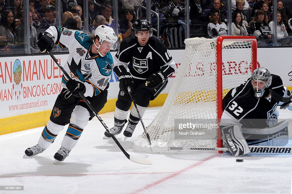 <a gi-track='captionPersonalityLinkClicked' href=/galleries/search?phrase=Jonathan+Quick&family=editorial&specificpeople=2271852 ng-click='$event.stopPropagation()'>Jonathan Quick</a> #32 of the Los Angeles Kings makes the save against Tim Kennedy #46 of the San Jose Sharks at Staples Center on April 27, 2013 in Los Angeles, California.