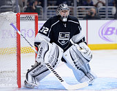 Jonathan Quick of the Los Angeles Kings plays goal during a 40 shutout victory over the Buffalo Sabres at Staples Center on October 23 2014 in Los...