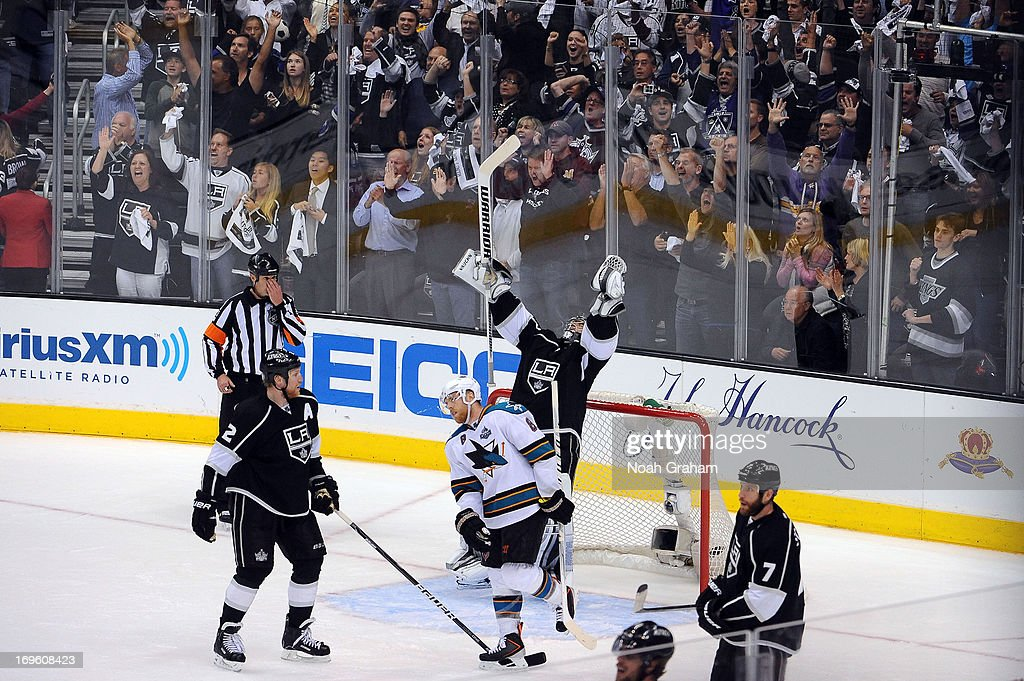 Jonathan Quick #32 of the Los Angeles Kings reacts after defeating the San Jose Sharks in Game Seven of the Western Conference Semifinals during the 2013 NHL Stanley Cup Playoffs at Staples Center on May 28, 2013 in Los Angeles, California.