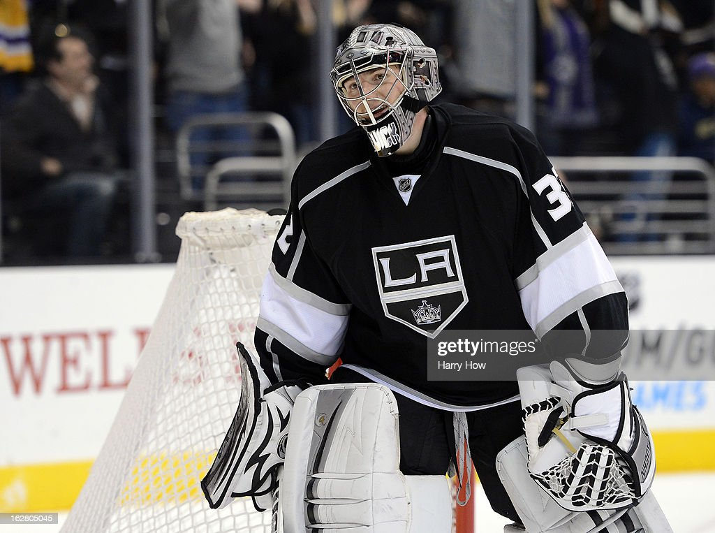 <a gi-track='captionPersonalityLinkClicked' href=/galleries/search?phrase=Jonathan+Quick&family=editorial&specificpeople=2271852 ng-click='$event.stopPropagation()'>Jonathan Quick</a> #32 of the Los Angeles Kings reacts after the fifth King's goal for a 5-2 win over the Anaheim Ducks Staples Center on February 25, 2013 in Los Angeles, California.
