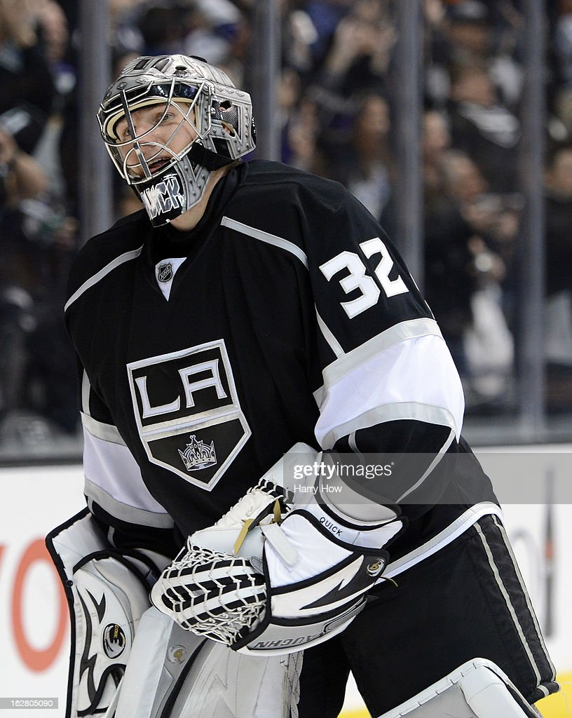Jonathan Quick #32 of the Los Angeles Kings reacts after the fifth King's goal for a 5-2 win over the Anaheim Ducks Staples Center on February 25, 2013 in Los Angeles, California.