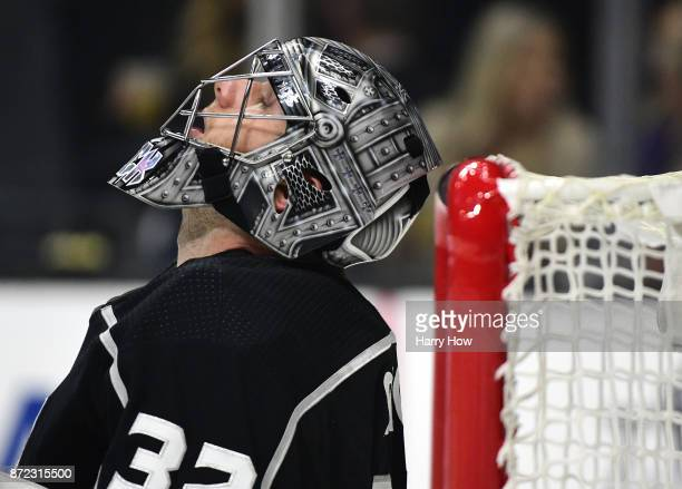 Jonathan Quick of the Los Angeles Kings reacts during a timeout as his team trails in the first period against the Tampa Bay Lightning at Staples...