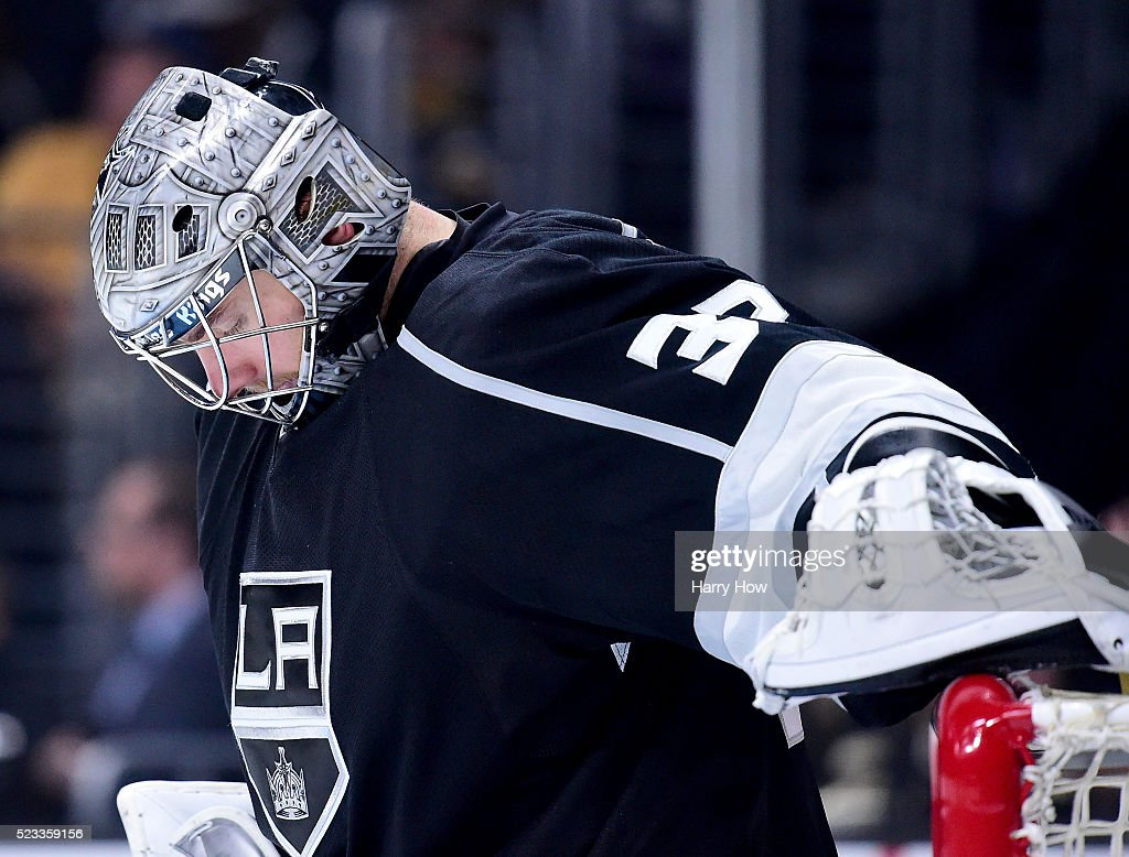 Jonathan Quick of the Los Angeles Kings reacts in goal during a 63 loss to the San Jose Sharks to lose the series during Game Five of the Western...