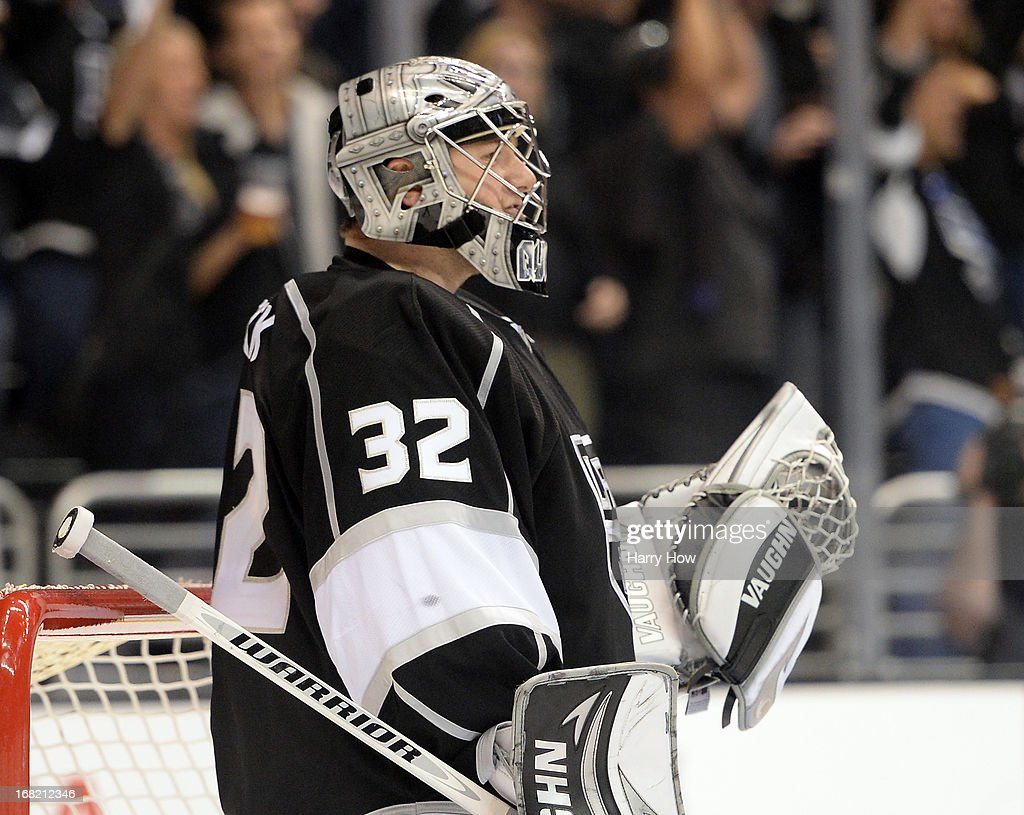 <a gi-track='captionPersonalityLinkClicked' href=/galleries/search?phrase=Jonathan+Quick&family=editorial&specificpeople=2271852 ng-click='$event.stopPropagation()'>Jonathan Quick</a> #32 of the Los Angeles Kings reacts to a 4-3 win over the St. Louis Blues in Game Four of the Western Conference Quarterfinals during the 2013 NHL Stanley Cup Playoffs at Staples Center on May 6, 2013 in Los Angeles, California.