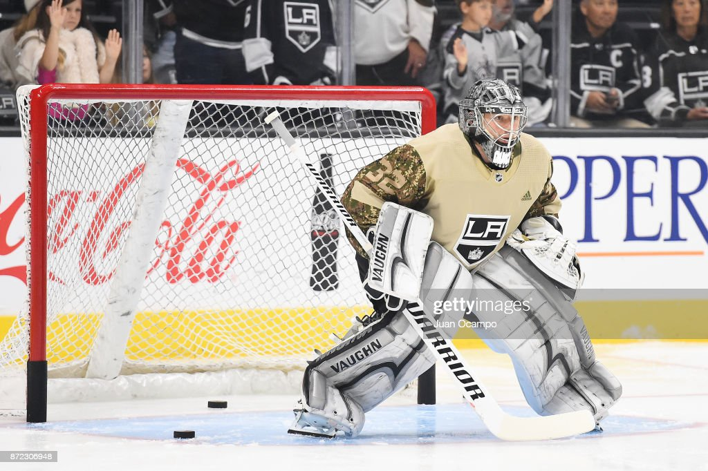 Jonathan Quick #32 of the Los Angeles Kings sports a camouflage warmup jersey to commemorate Veterans Day before a game against the Tampa Bay Lightning at STAPLES Center on November 9, 2017 in Los Angeles, California.