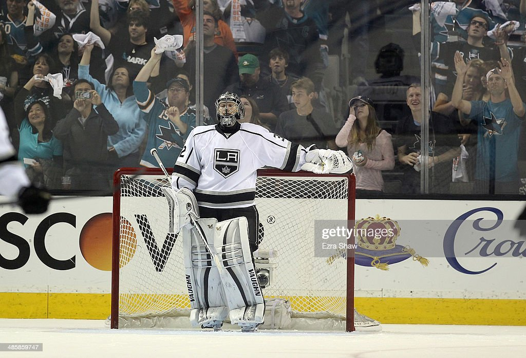 Jonathan Quick #32 of the Los Angeles Kings stands by his goal after giving up a goal in the third period against the San Jose Sharks in Game Two of the First Round of the 2014 NHL Stanley Cup Playoffs at SAP Center on April 20, 2014 in San Jose, California.