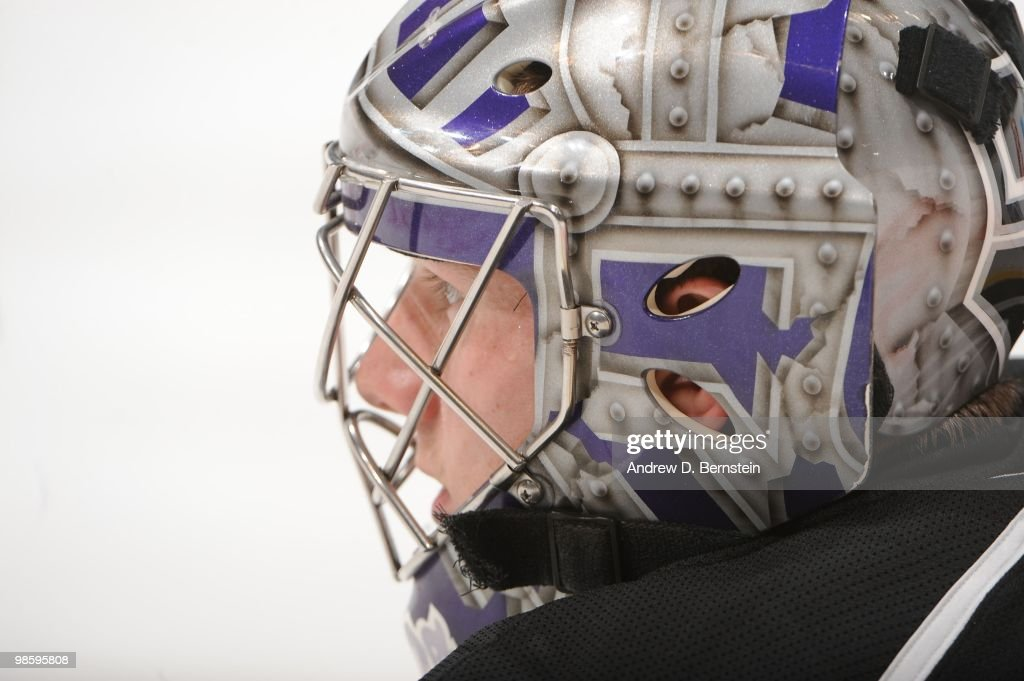 Jonathan Quick of the Los Angeles Kings warms up prior to taking on the Vancouver Canucks in Game Three of the Western Conference Quarterfinals...