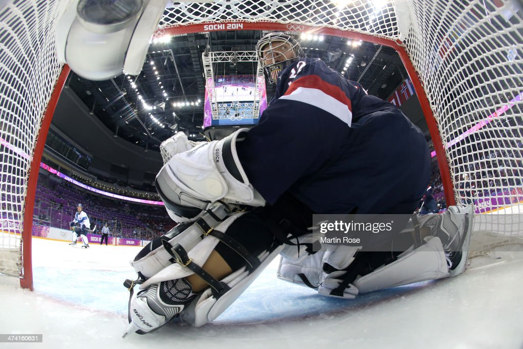 Jonathan Quick #32 of the United States looks back in the first period against Finland during the Men's Ice Hockey Bronze Medal Game on Day 15 of the 2014 Sochi Winter Olympics at Bolshoy Ice Dome on February 22, 2014 in Sochi, Russia.