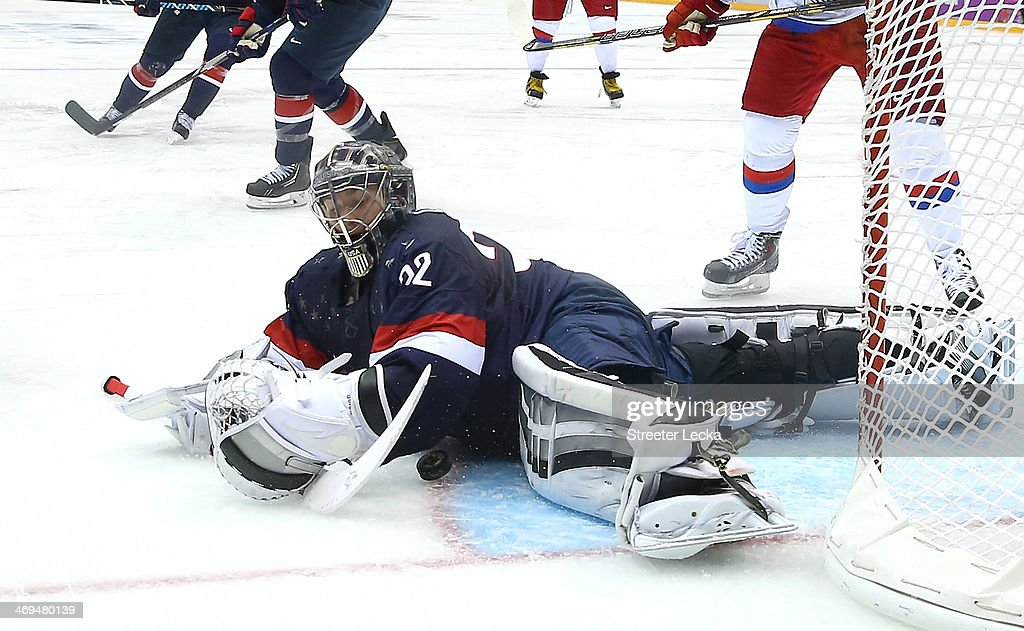 Jonathan Quick of the United States makes a save against Russia during the Men's Ice Hockey Preliminary Round Group A game on day eight of the Sochi...