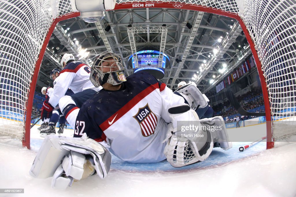 <a gi-track='captionPersonalityLinkClicked' href=/galleries/search?phrase=Jonathan+Quick&family=editorial&specificpeople=2271852 ng-click='$event.stopPropagation()'>Jonathan Quick</a> #32 of United States attempts to save a goal against Slovakia during the Men's Ice Hockey Preliminary Round Group A game on day six of the Sochi 2014 Winter Olympics at Shayba Arena on February 13, 2014 in Sochi, Russia.