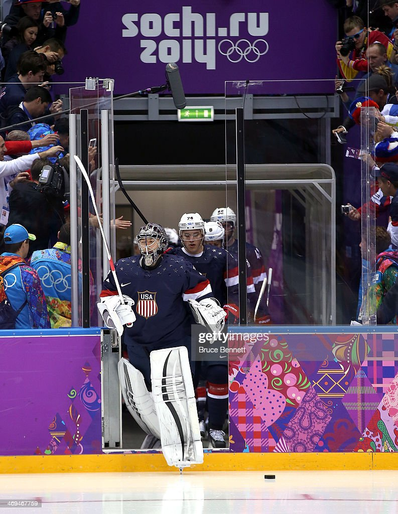 Jonathan Quick of United States enters the rink during the Men's Ice Hockey Preliminary Round Group A game against Russia on day eight of the Sochi...