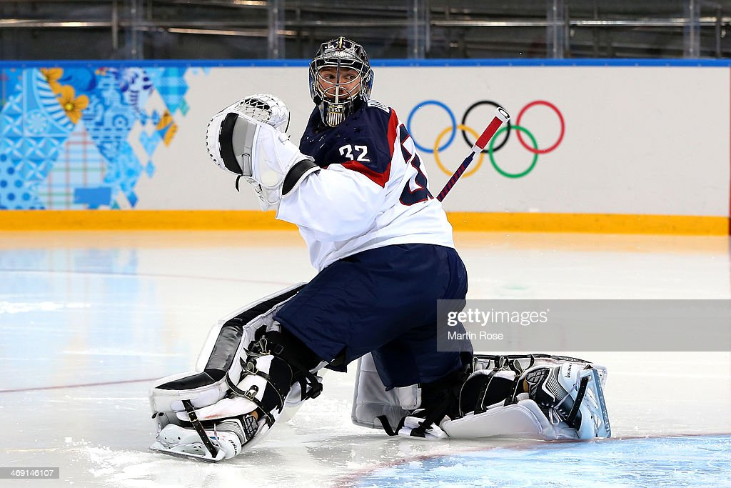 Jonathan Quick of United States gives up a goal to Tomas Tatar of Slovakia in the second period during the Men's Ice Hockey Preliminary Round Group A...