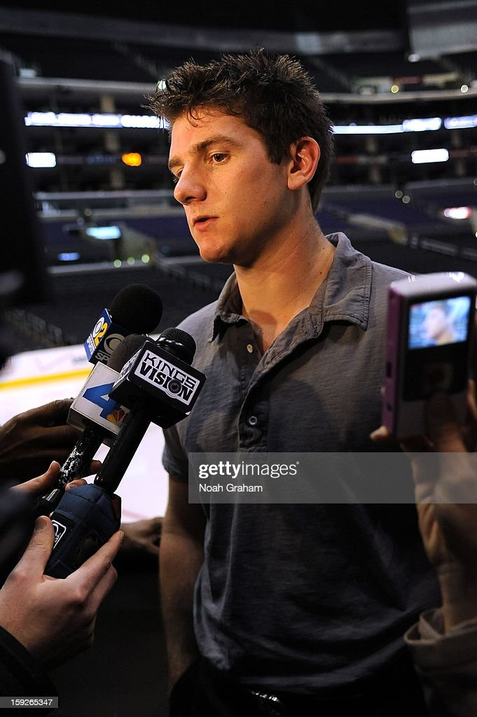 Jonathan Quick speaks during an interview as the Los Angeles Kings kick-off the club's 2012-13 Regular Season with a press conference featuring Kings Governor Tim Leiweke, President/General Manager Dean Lombardi , President, Business Operations Luc Robitaille and Head Coach Darryl Sutter at Staples Center on January 10, 2013 in Los Angeles, California.