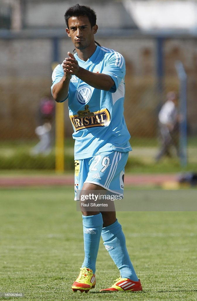 Jonathan Ramirez of Sporting Cristal reacts during a match between Sport Huancayo and Sporting Cristal as part of The Torneo Descentralizado 2013 at the Huancayo Stadium on February 18, 2013 in Huancayo, Peru