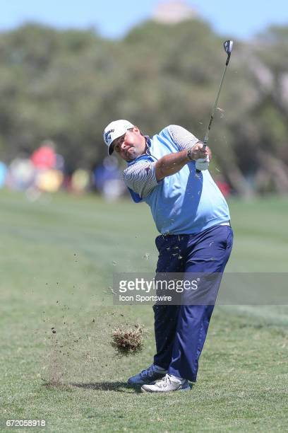 Jonathan Randolph blasts from the rough during the 4th round of the Valero Texas Open at the TPC San Antonio Oaks Course in San Antonio TX on April...