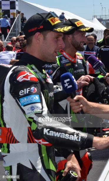 Jonathan Rea Kawasaki ZX10RR Kawasaki Racing Team and teammate Tom Sykes Kawasaki ZX10RR Kawasaki Racing Team are interviewed in victory lane after...