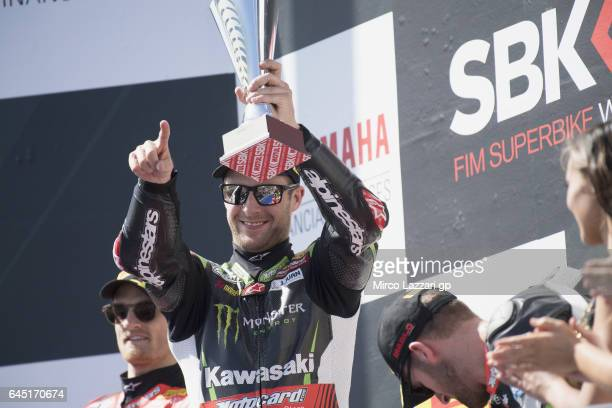 Jonathan Rea of Great Britain and KAWASAKI RACING TEAM celebrates on the podium the victory at the end of the Race during round one of the FIM World...