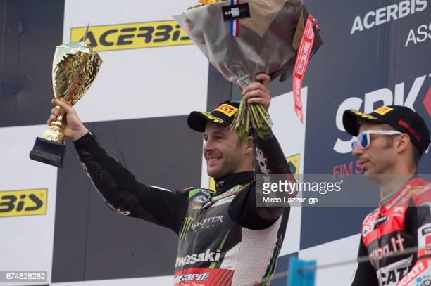Jonathan Rea of Great Britain and KAWASAKI RACING TEAM celebrates on the podium the victory at the end of the race 1 during the FIM World Superbike...