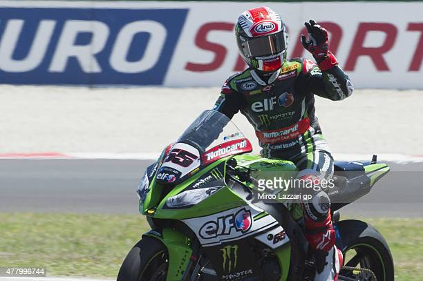 Jonathan Rea of Great Britain and KAWASAKI RACING TEAM celebrates the victory at the end of the WSBK Race 2 during the FIM Superbike World...