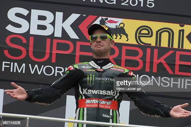 Jonathan Rea of Great Britain and KAWASAKI RACING TEAM celebrates the victory on the podium at the end of the Race 1 during the FIM Superbike World...