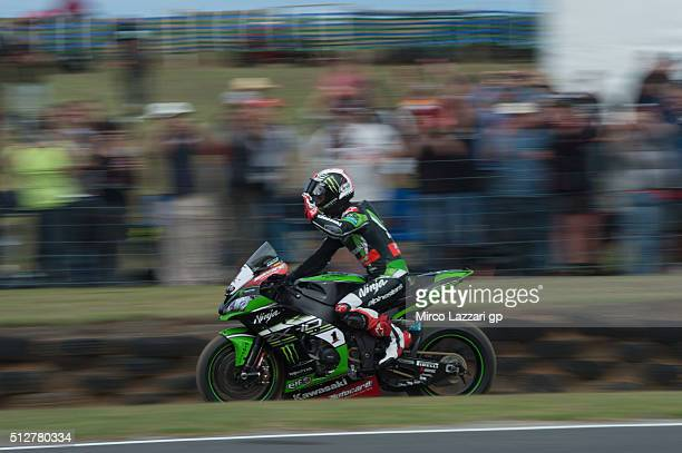 Jonathan Rea of Great Britain and KAWASAKI RACING TEAM celebrates the victory at the end of the Supersport race2 of round one of the 2016 World...