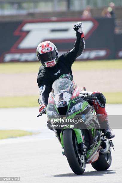 Jonathan Rea of Great Britain and KAWASAKI RACING TEAM celebrates the victory at the end of the Superbike Race 2 during the FIM Superbike World...