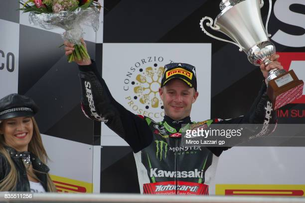 Jonathan Rea of Great Britain and KAWASAKI celebrates the second place on the podium at the end of the Superbike race 1 during the FIM Superbike...