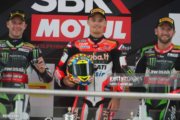 Jonathan Rea of Great Britain and KAWASAKI RACING TEAM Chaz Davies of Great Britain and ARUBAIT RACINGDUCATI and Tom Sykes of Great Britain and...