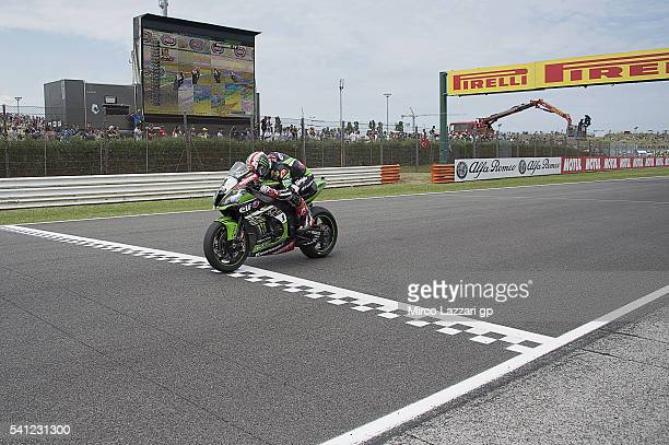 Jonathan Rea of Great Britain and KAWASAKI RACING TEAM heads down a straight during the Race 2 during the FIM Superbike World Championship Race at...