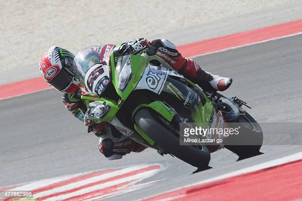 Jonathan Rea of Great Britain and KAWASAKI rounds the bend during the FIM Superbike World Championship Qualifying at Misano World Circuit on June 20...