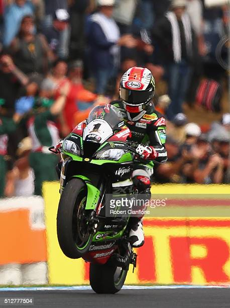 Jonathan Rea of Great Britain and rider of the Kawasaki Racing Team Kawasaki celebrates after winning race two of round one of the 2016 World...