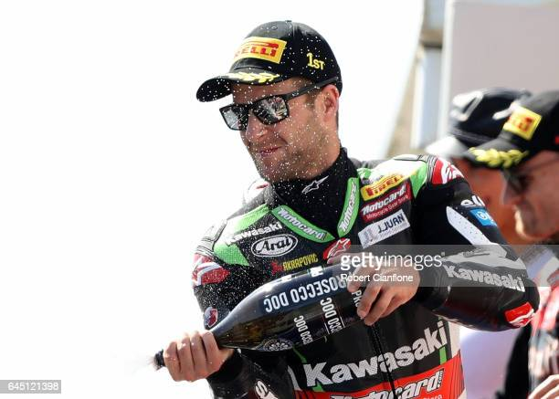 Jonathan Rea of Great Britain and rider of the Kawasaki Racing Team Kawasaki celebrates after winning race one of round one of the FIM World...
