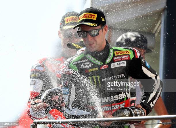 Jonathan Rea of Great Britain and rider of the Kawasaki Racing Team Kawasaki celebrates after winning race two of round one of the FIM World...