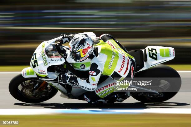 Jonathan Rea of Great Britain and the Hannspree Ten Kate Honda Team rounds the bend during practice ahead of round one for the Superbike World...