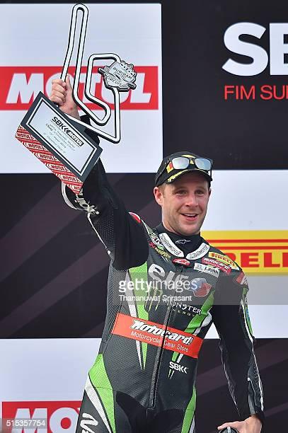 Jonathan Rea of Great Britain celebrates on the podium during the Buriram World Superbike Championship on March 13 2016 in Buri Ram Thailand