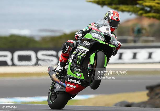 Jonathan Rea of Great Britain pops a mono on his Kawasaki Racing Team Kawasaki during warm up before race two of round one of the 2016 World...
