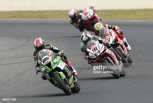 Jonathan Rea of Great Britain rides the Kawasaki Racing Team Kawasaki ZX10R during the World Superbikes World Championship Australian Round at...