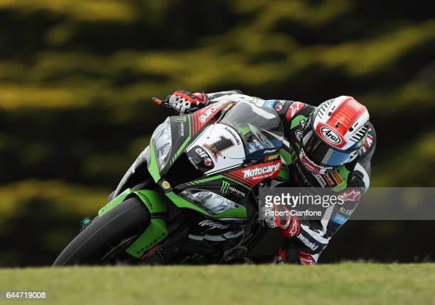 Jonathan Rea of Great Britain rides the Kawasaki Racing Team Kawasaki during practice ahead of round one of the FIM World Superbike Championship at...