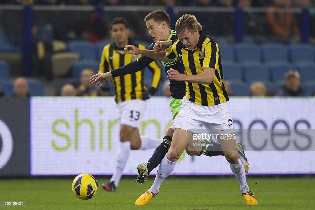 Jonathan Reis of Vitesse, Niklas Moisander of Ajax, Tomas Kalas of Vitesse during the Dutch Eredivise match between Vitesse Arnhem and Ajax Amsterdam at the Gelredome on January 27, 2013 in Arnhem, The Netherlands.